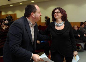 Pernando Barrena y Rosa Lluch, ayer en Barcelona