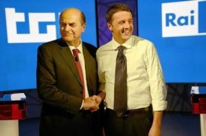 Bersani y Renzi, en un debate en la televisión italiana.