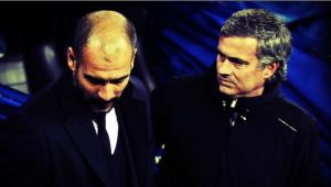 Pep Guardiola y Mourinho en el estado Santiago Bernabéu.