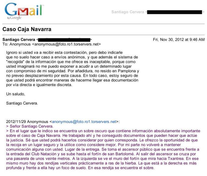 Correo electrónico que recibió Cervera. Fotografía: El País.