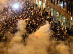Los disturbios de 2006 en Budapest.