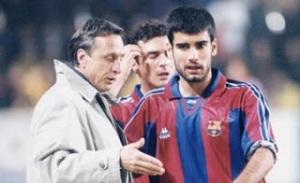 Pep Guardiola y Johan Cruyff
