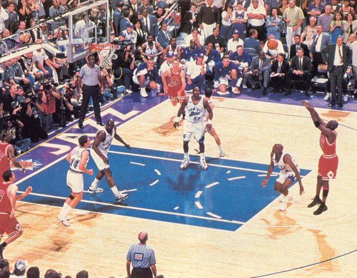 """Michael Jordan en el momento bautizado como """"The last shot"""""""