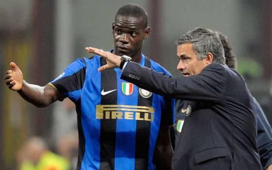 Balotelli en su pasada etapa en el Inter de Milan con José Mourinho