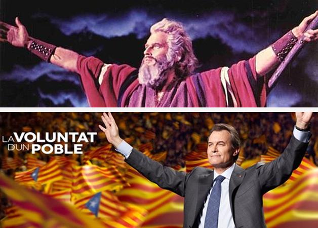 Comparativa realizada en las redes sociales del cartel electoral de Artur Mas y  Charlton Heston como Moises en 'Los Diez Mandamientos' / Fuente: Economía Digital