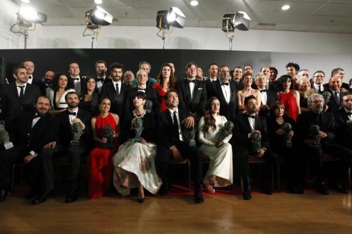 Foto de familia de los ganadores de los Premios Goya 2013