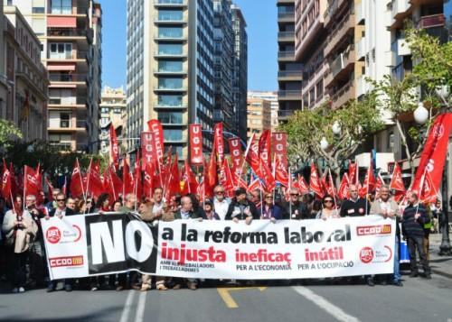 Manifestación de los sindicatos contra la reforma laboral en 2012