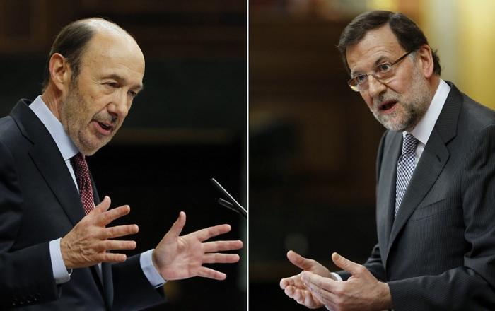 Intervenciones de Rubalcaba y Rajoy durante el debate / Fuente: Diario de Navarra