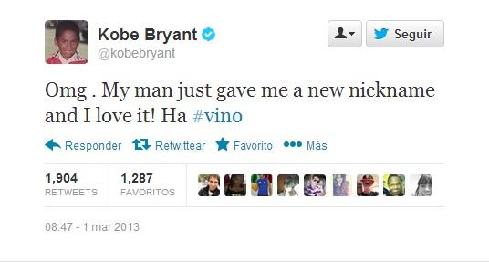 Tweet de Kobe dando a conocer su nuevo apodo.