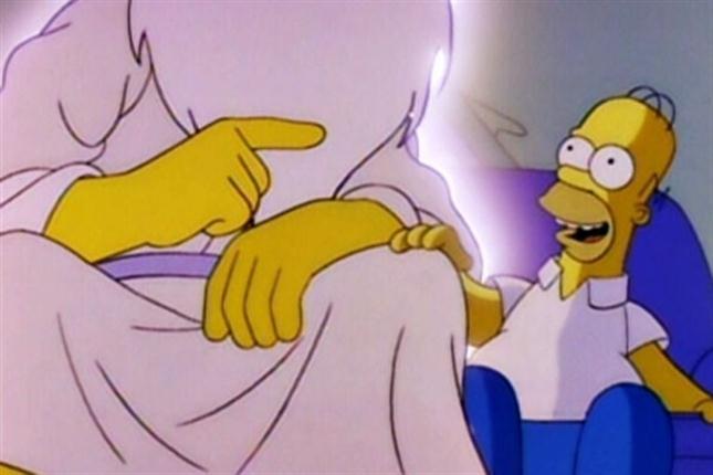 Homer y Dios sentados en el sofá juntos
