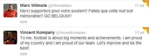 Tuits de Marc Wilmots y Vincent Kompany tras lograr la clasificación al Mundial | FOTO: Twitter