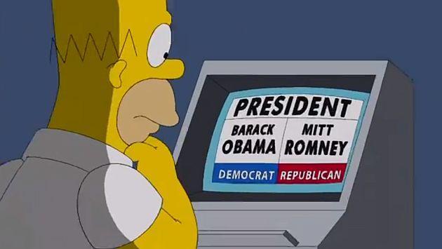Homer decide votar entre Barack Obama y Mitt Romney