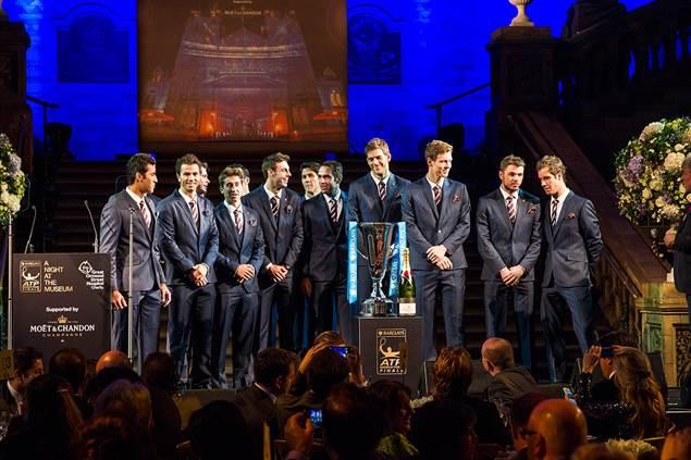 Los tenistas durante la presentación de la Copa Masters | Fuente: atpworldtour.com